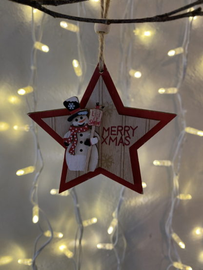 Hanging wooden star christmas decoration